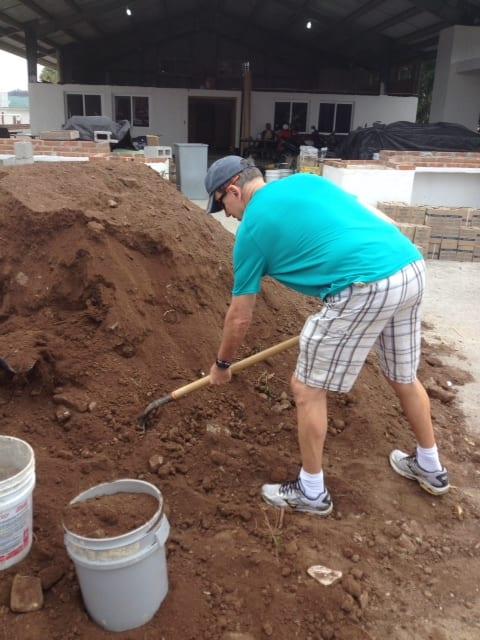 Pastor Steve working in construction